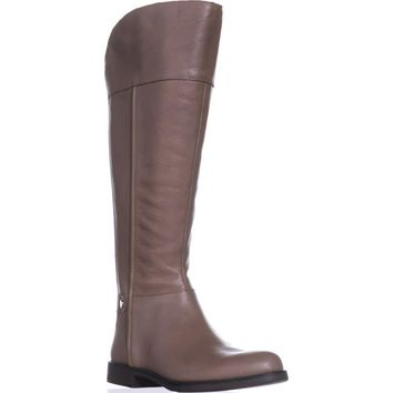 Franco Sarto Christine Wide Calf Riding Boots, Taupe Leather, 7 US / 37 EU