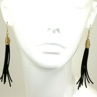 Black Leather Tassel Earrings Gold Wire Wrapped Dangle