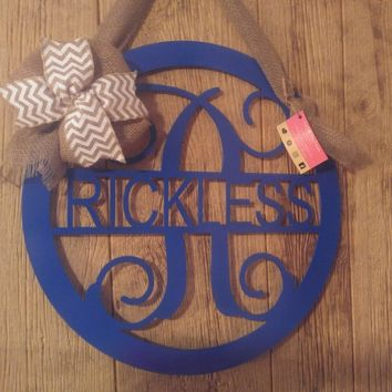 Front Door Hanger, Front Door Wreath, Metal Monogram, Name Decor, Metal Wall Decor, Gifts for her, Monogram Door Sign, Metal Letter Sign