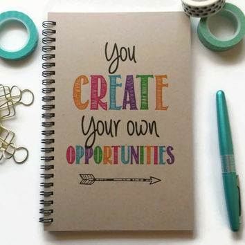 Writing journal, spiral notebook, Bullet journal, brown kraft journal, lined blank or grid paper - You create your own opportunities