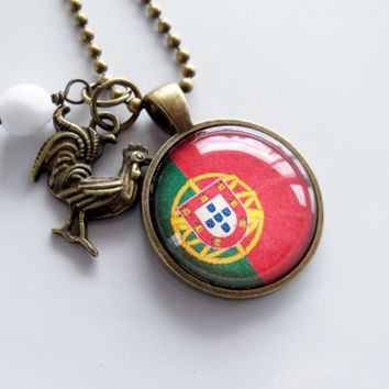 Flag of Portugal Necklace - Portuguese Flag - You Choose Bead and Charm - Patriotic Pendant - Europe - Custom Jewelry - Red and Green