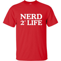 Nerd 4 Life 2 Squared Geek Science Nerdy T Shirt Awesome Printed Tee For Men Kids And Women