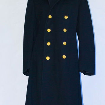 Vintage 1960's US Naval Academy Double Breasted Wool Bridge Coat Tailored By Jacob Reed's Sons 1964 8581. Size 39
