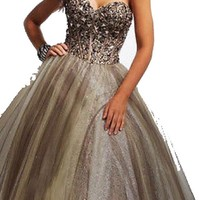 Sexy Beaded Strapless Long Prom Dress Party Evening Dress Figure Color Free Size