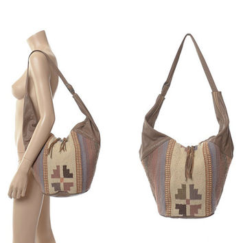 Vintage 80s Southwestern Leather + Kilim Wool Hobo Bag 1980s Indian Tribal Rug Handbag Ethnic Hippie Boho Festival Shoulder Purse