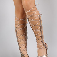 Elasticized Straps Lace Up Open Toe Gladiator Sandal