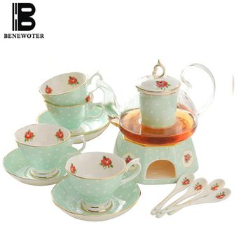 Creative Pastoral Ceramic Bone China Coffee Cup with Saucer Teapot Kit British Afternoon Tea Water Milk Mug Cup Drinkware Set