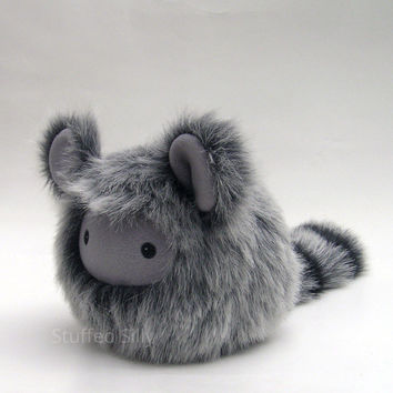 Furry Grey Baby Monster Plushie, Cute Stuffed Toy with Black and Grey Striped Tail by Stuffed Silly