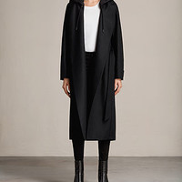 ALLSAINTS US: Womens Sienna Hooded Coat (Black)