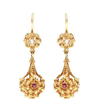 Victorian Ruby And Diamond Drop Earrings by Doyle & Doyle - Moda Operandi