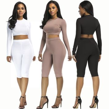 Sexy Nightclub Siamese solid color fashion tight two-piece wild suit