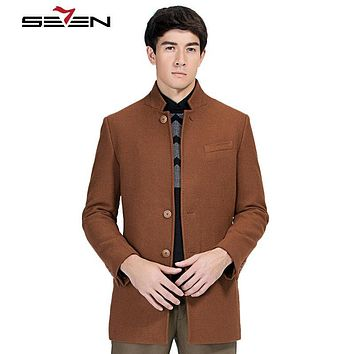 Seven7 Fashion Jacket Men Wool Coat Peacoats Men Long Wool Blend Winter Male Overcoat Trench Design Brand Clothing 111K20080