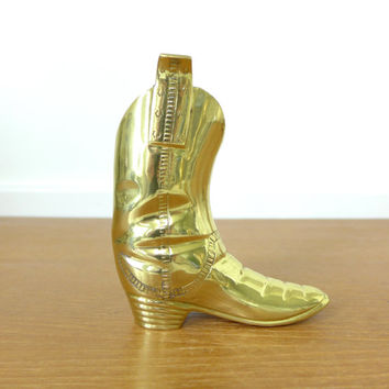 Heavy brass cowboy boot vase, pencil cup, bookend