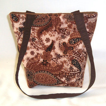 Brown Paisley Purse, Small Tote Bag, Handmade Handbag, Cloth Purse, Brown, Black, Paisley, Flowers, Floral Purse, Teen Purse