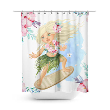 Surfer Girl - Floral Shower Curtain