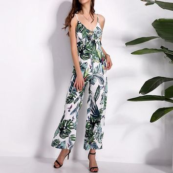 Rompers Womens Jumpsuit 2018 Summer Sexy Overalls V Neck Sleeveless Backless Playsuits Casual Loose Printed Ruffles Bodysuits