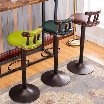 Fashion antique bar chair lifting rotation front desk chair comfortable natural flowing lines highchairs solid wood backrest
