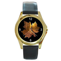 Autumn Leaf on BL Background on Mens or Womens Gold Watch w/Leather NEW