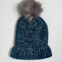 New Look Chenille Faux Fur Bobble Hat at asos.com