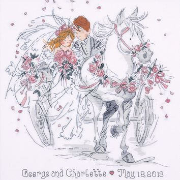 """Wedding Carriage Counted Cross Stitch Kit 12""""X12"""" 18 Count"""
