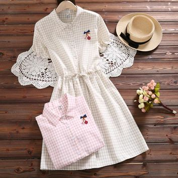 Summer Mori Girl Women Plaid Dress Cotton Linen Casual Loose Femininos Vestidos Vintage Elegant Sweet Ladies Japanese Dresses
