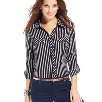 NY Collection Mixed-Stripe Button-Down Shirt