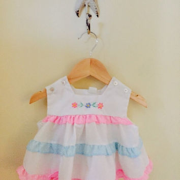 Vintage Baby Girls Dress with Ruffles, Pink and Blue Baby Dress, Size 6 Months, Summer Baby Clothes, Baby Shower Gift, New Baby Gift