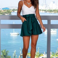 Hunter Green Romper with Pockets