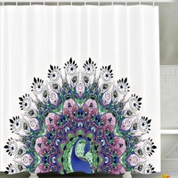 Proud Peacock Boho Fabric Shower Curtain
