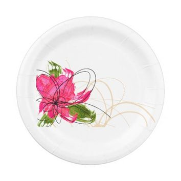 Blush Pink Olive Painted Daisy Paper Plates