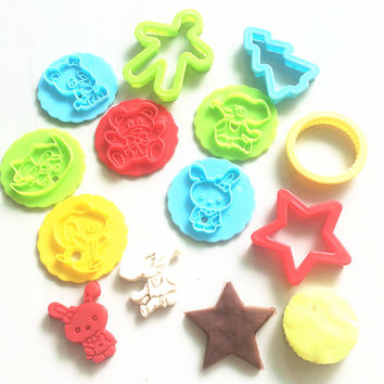 10pc Intelligent Plasticine Clay Fimo Polymer Smart Play Doh Polymer Clay Putty Play-Doh Plasticine Christmas Cookies Mold Tools