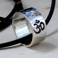 Sterling Silver Om Ring Necklace for Peace Tranquility and Yoga Inspired Jewelry