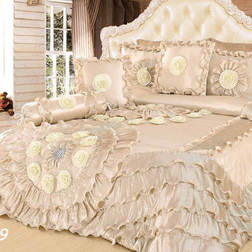 Tache 6 Piece Faux Sateen Royal Wedding Chamber in Cream Comforter Set
