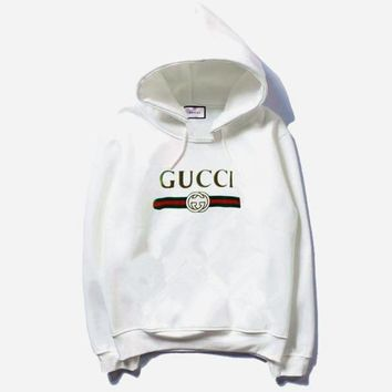 '' Gucci '' Fashion Long Sleeve Hooded Print Embroider Casual Sweater