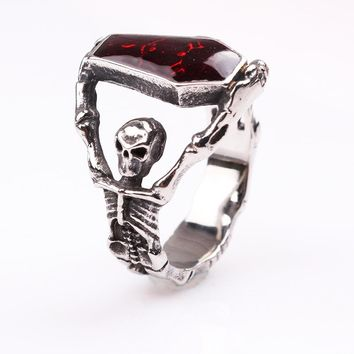 SHUANGR fashion Red color Mens Vampire Skeleton Skull Bloody shape Stainless Steel Gothic Red Enamel Coffin Ring Biker Jewelry