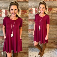 Lets Just Relax Burgundy Dress