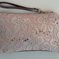 Bridesmaids clutches, bridal clutches, wristlets, set of 3, lace and leather clutches, zipper pouches