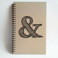 Ampersand, 5x8 writing journal, custom spiral notebook, personalized brown kraft memory book, small sketchbook, scrapbook, to do list