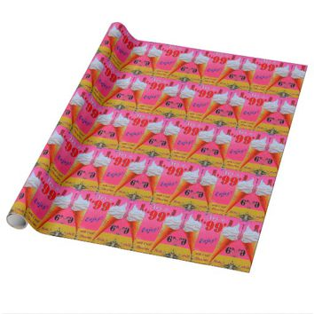 Pink and orange vintage ice cream wrapping paper