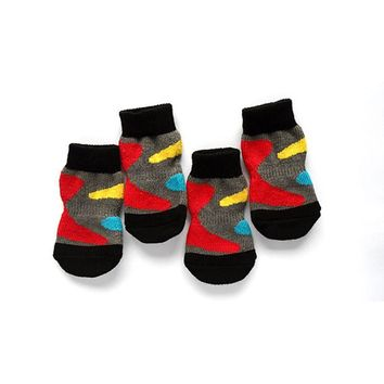 4 PCS set Small Pet Dog Doggy Shoes Lovely Soft Warm Knitted Socks Clothes Apparels For S-XL
