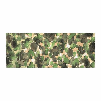 """Ebi Emporium """"WILD THING, CAMO GREEN"""" Green Olive Animal Print Abstract Watercolor Mixed Media Bed Runner"""
