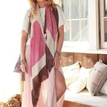 Boss Oversized Blanket Scarf in Blush