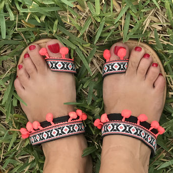 Boho Ethnic Tribal Sandals Black with Orange Pompoms