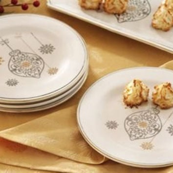Snowflake Ornament Gold Silver Elegant Holiday Dessert Plates Set of 4