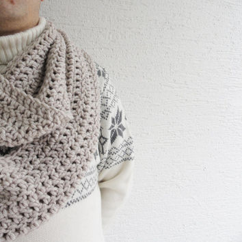 Extra Large Chunky Men Scarf / Infinity Scarf for Men / Men Loop Circle Thick Scarf Light Beige