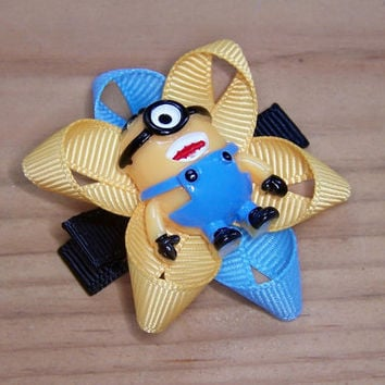 Minion inspired Hair Bow Hair Clip - despicable me inspired hair bow barrette clippie