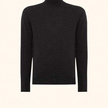 SPECTRE Mock Turtle Neck Sweater in Dark Charcoal Grey - N.PEAL Luxury Cashmere