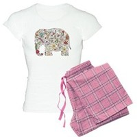 Floral Elephant Silhouette Pajamas> Floral Elephant Silhouette> Natures Little Treasures