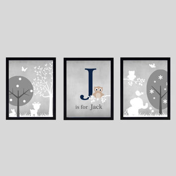 Gray Navy Taupe White Enchanted Forest with Owl and Elephant, CUSTOMIZE YOUR COLORS 8x10 Prints, set of 3, nursery decor art baby room decor