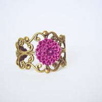 Purple Dahlia Flower on Brass Filigree Ring